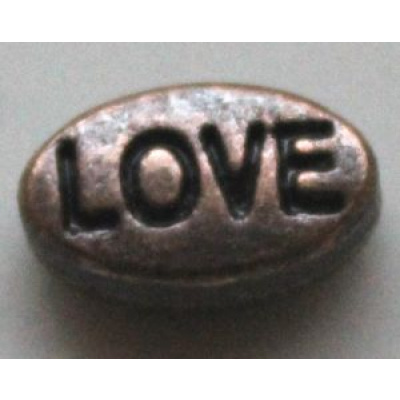 Metallihelmi litteä soikea Love 10x6x4 mm antiikkikupari 4 kpl