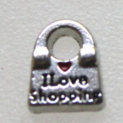 Amuletti laukku I love shopping 7 mm hopeoitu