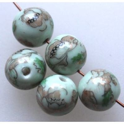 Posliinihelmi 12 mm lime/kulta