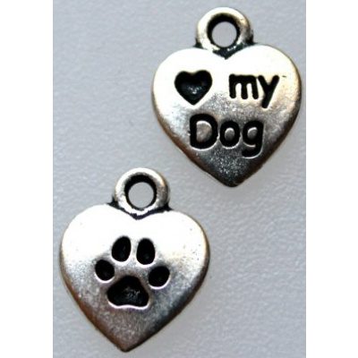 TierraCast® riipus love my dog 12x10 mm antiikkihopea